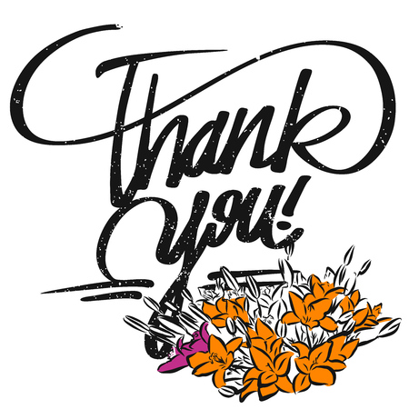 typo: Thank you Typo and Bunch of Flowers, Hand drawn Calligraphy Greeting Card Concept