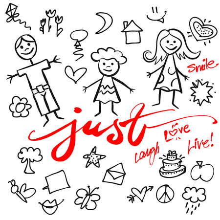 mom and daughter: Just Family Doodle Set, Hand drawn  Calligraphy Greeting Card Concept