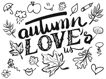 typo: Autumn Loves us Typo and Icons, Hand drawn Calligraphy Greeting Card Concept Illustration