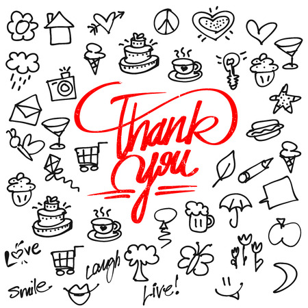 typo: Thank you letter Typo and Icons, Hand drawn Calligraphy Greeting Card Concept Illustration