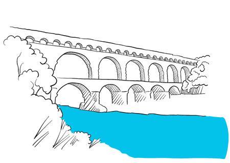 Gard Du Pont Languedoc, Nîmes France, Croquis, Hand-drawn Outline Création Illustration