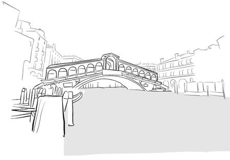 venezia: Venice Greeting Card Rialto Bridge Drawing, Hand-drawn Outline Artwork Illustration