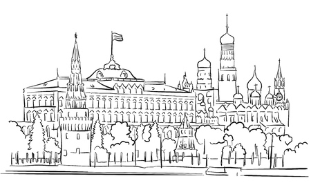 Kremlin, Moscow, Panoramic Greeting Card Sketch, Hand-drawn Outline Artwork Illustration