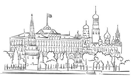 kremlin: Kremlin, Moscow, Panoramic Greeting Card Sketch, Hand-drawn Outline Artwork Illustration