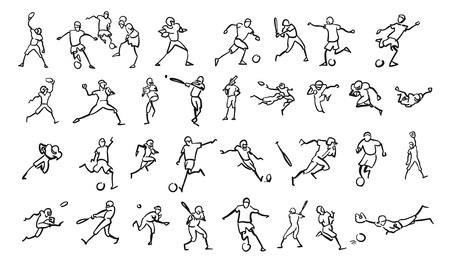 Various Ball Game Motion Sketch Studies Set, hand-drawn vector Outline Artwork Ilustracja