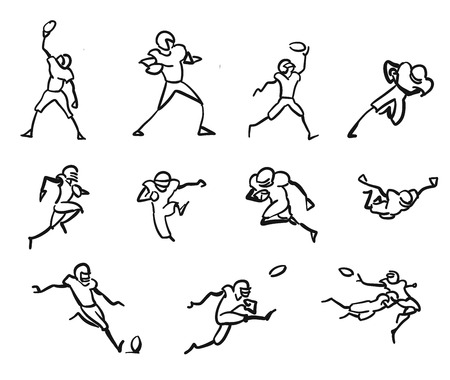 kickoff: American Football Player Motion Sketch Studies, Hand-drawn Vector Outline Artwork