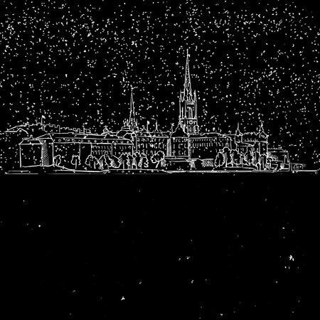 london night: Stockholm by Night, Panoramic Landmark Sketch, Hand-drawn Illustration Vector Outline Artwork Illustration