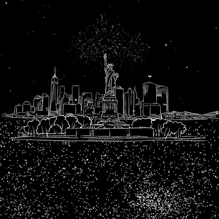 NYC and Liberty Stature on Island by Night Sketch, Hand-drawn Illustration Vector Outline Artwork