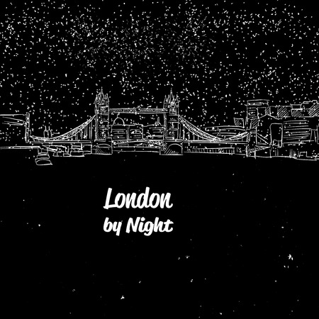 London by Night Skyline Panorama Sketch, Hand-drawn Illustration Vector Outline Artwork