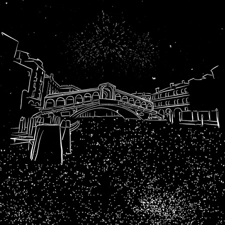 rialto: venezia Rialtor Bridge by Night Sketch, Hand-drawn Illustration Vector Outline Artwork Illustration