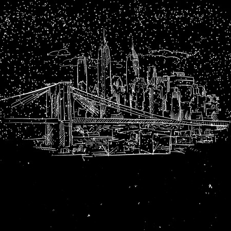 New York by Night with Brooklyn Bridge Sketch, Hand-drawn Illustration Vector Outline Artwork