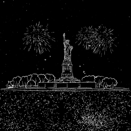 Lady Liberty by Night with Firework Sketch, Hand-drawn Illustration Vector Outline Artwork