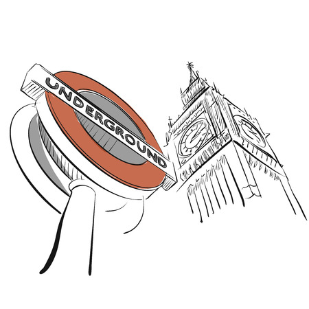 city of westminster: London Underground Sign in Front of Big Ben, Hand-drawn Outline Sketch
