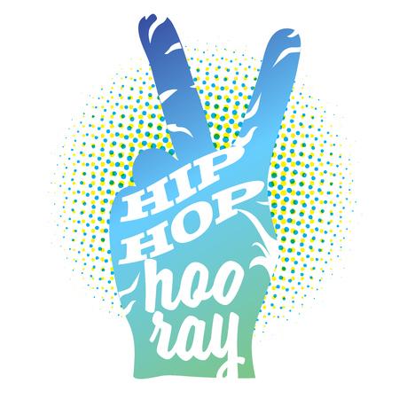 Hip Hop Hooray auf Friedenshandzeichen, farbige Kontur-Grafik Standard-Bild - 65361409
