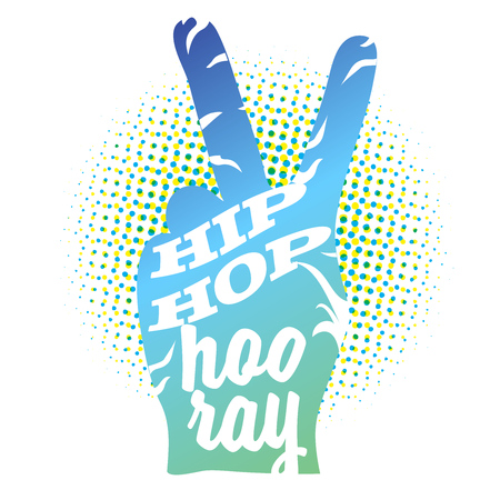 Hip Hop Hooray on Peace Hand Sign, Colored Outline Artwork Illustration