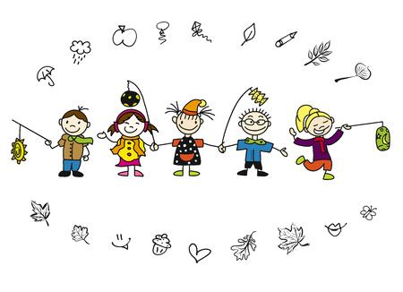 Krabbel van de Krabbel van de krabbel met Latern en Bladeren, Hand-drawn Sketches, Gekleurd Kunstwerk