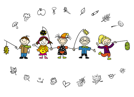 Doodle Autumn Kids with Latern and Leaves, Hand-drawn Sketches, Colored Artwork