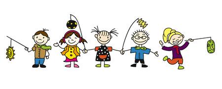 Różne Doodle naszkicowane dzieci z Latern, ręcznie rysowane szkice, kolorowe grafiki