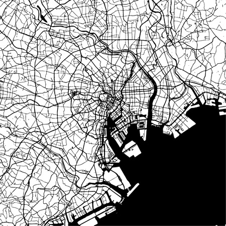 Tokyo, Japan, Monochrome Map Artprint, Outline Version, ready for color change, Separated On White Illustration