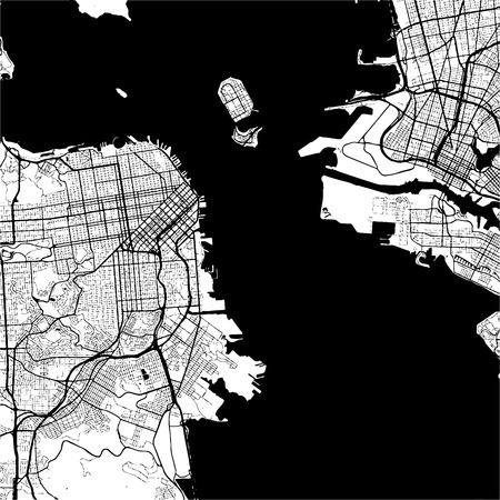 San Francisco, USA, Monochrome Map Artprint, Outline Version, ready for color change, Separated On White Illustration