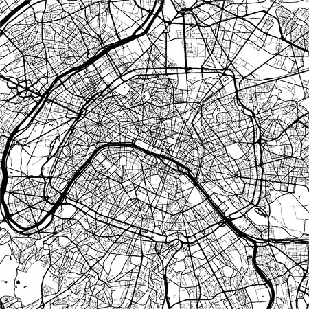 Paris, France, Monochrome Map Artprint, Outline Version, ready for color change, Separated On White