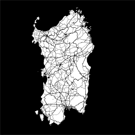 Sardinia, Island, Italy, Monochrome Map Artprint, Outline Version, ready for color change, Separated On White Illustration