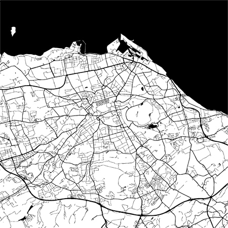 edinburgh: Edinburgh, Scotland, Monochrome Map Artprint, Outline Version, ready for color change, Separated On White
