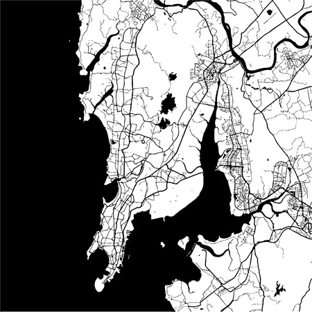 mumbai: Mumbai, India, Monochrome Map Artprint, Vector Outline Version, ready for color change, Separated On White