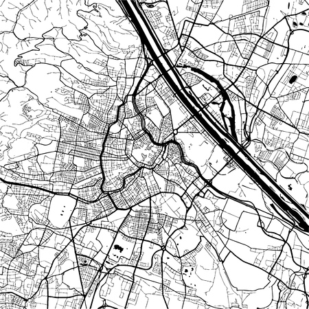 Vienna, Austria, Monochrome Map Artprint, Outline Version, ready for color change, Separated On White