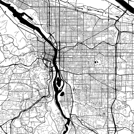 vancouver city: Vancouver Canada, Monochrome Map Artprint, Outline Version, ready for color change, Separated On White
