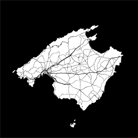Mallorca Monochrome Map Artprint, Outline Version, ready for color change, Separated On White Illustration