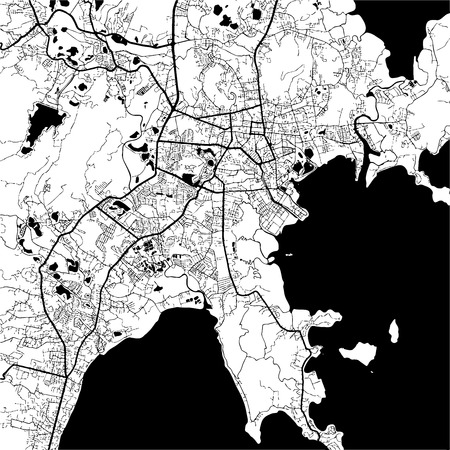 Phuket, Thailand, Monochrome Map Artprint, Outline Version, ready for color change, Separated On White