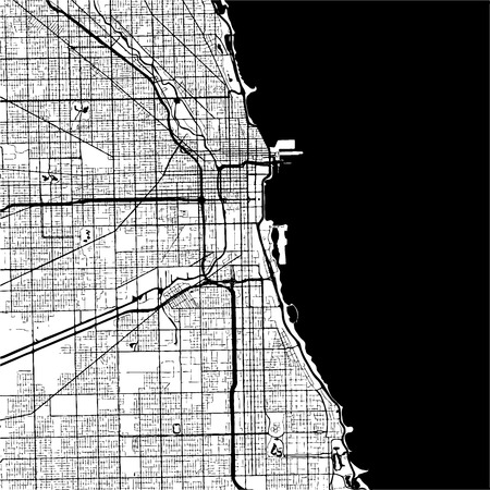 Chicago, USA, Monochrome Map Artprint, Outline Version, ready for color change, Separated On White
