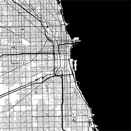 Chicago, USA, Zwart-wit Kaart Artprint, Outline Versie, klaar voor kleurverandering, Gescheiden op wit