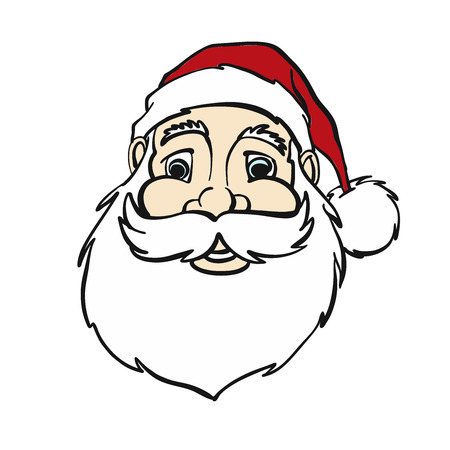 fineliner: Smiling Comic Santa Claus Portrait , hand-drawn vector sketch, Artwork