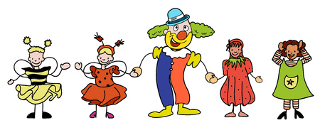 Carnival Clown and Children celebratre together, hand-drawn vector sketch, Artwork Illustration