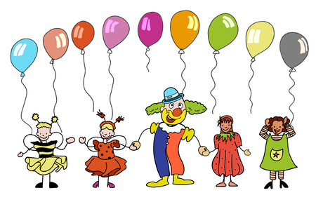 Clown and sketched Children with colourful balloons, hand-drawn vector sketch, Artwork