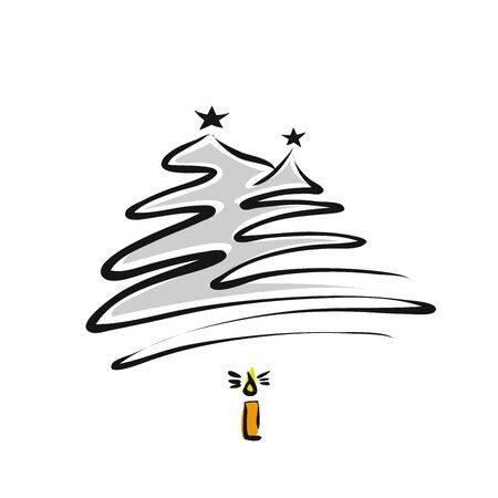 Two Christmas Trees and burning candle, hand-drawn vector sketch, Artwork Illustration