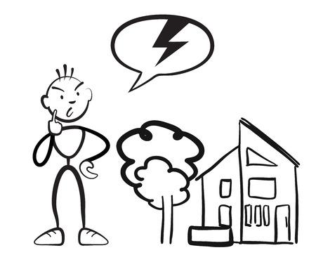 Stick figure man reports household damage, Stickman vector drawing on white background Çizim