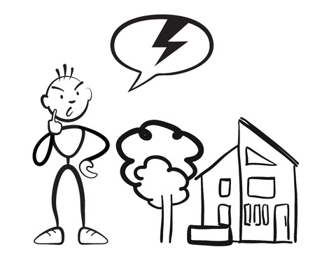 Stick figure man reports household damage, Stickman vector drawing on white background Illustration