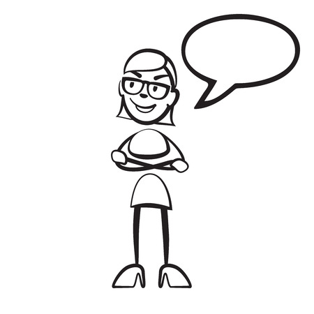 Stick figure woman speech bubble, vector drawing on white background