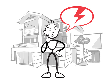 Stick figure man reports insurance damage to house, Stickman vector drawing on white background Illustration