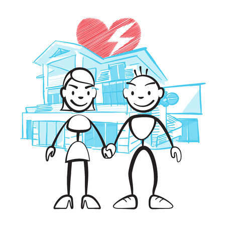 Couple brushing in front of dream house with worries, vector drawing on coloured background, ready for color change
