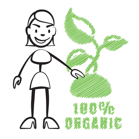 Stick figure woman with symbol 100% Organic, Stickman vector drawing on white background Illustration