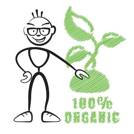 degradable: Stick figure with symbol 100% Organic, Stickman vector drawing on white background