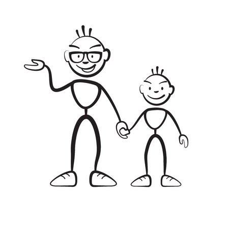 shrewd: Man and boy explain situation, vector drawing on white background