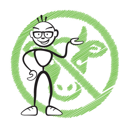 seperation: Stick figure no meat symbol, Stickman vector drawing on white background