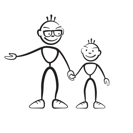 shrewd: Brushman father and son explaining, vector drawing on white background