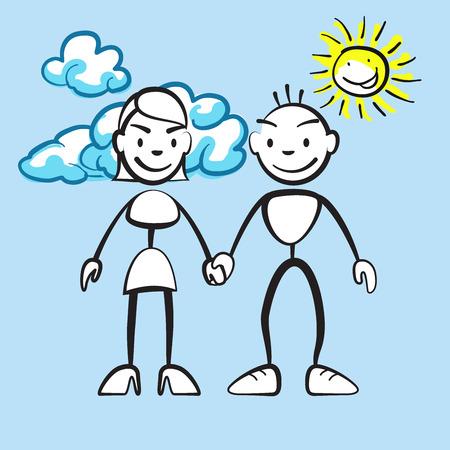 雲と太陽の色の変更の準備ができて、色の背景上に描画ベクトルと笑顔のカップル