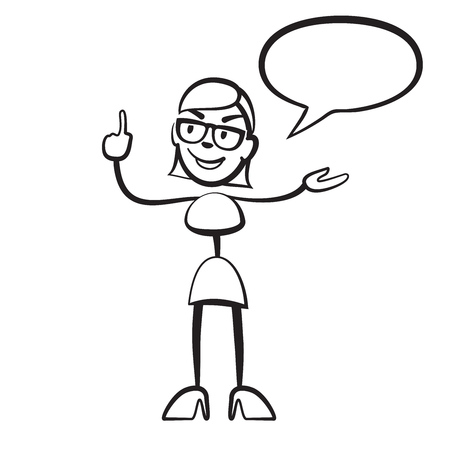 shrewd: Stick figure woman persona with speech bubble, Stickman vector drawing on white background Illustration